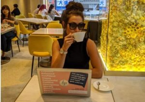 Alice Dartnell Life Success Coach London UK visits Okinawa Japan working on her laptop in Japan #Aliceinbusinessland