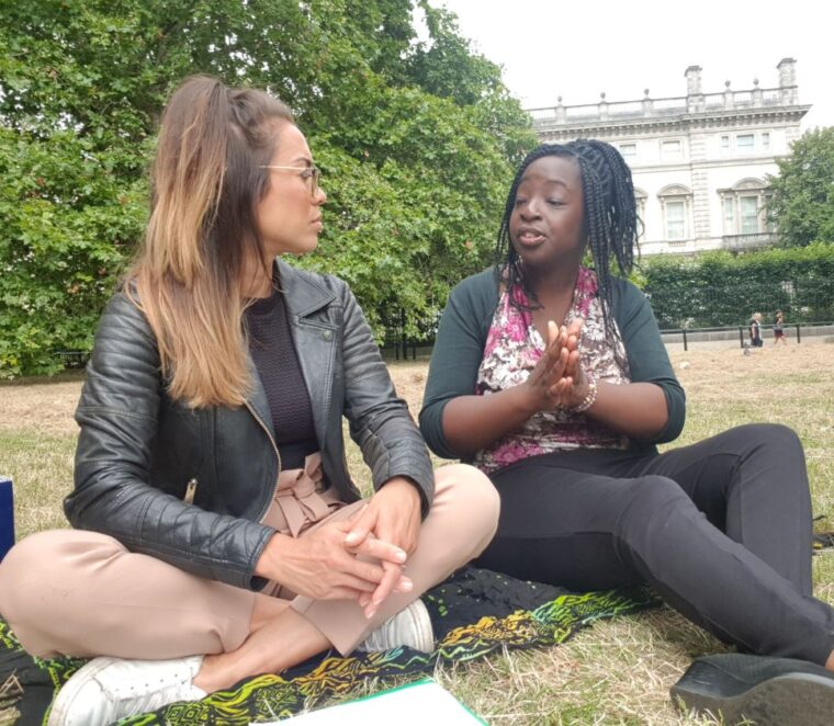 Alice Dartnell Life Success Coach London Consultation talking to Doctor Eleanor Akaho in Green Park about burnout