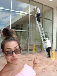 Alice Dartnell Life Success Coach  London Consultation  look at ladder window cleaners in Grand Park Royal Hotal Cancun Mexico